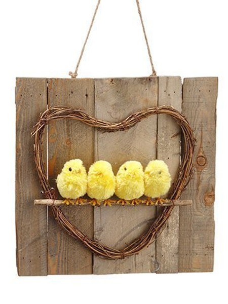 """1.9""""H X 12.9""""D Chick Wall Decor Yellow 2 Pieces AHE745-YE"""