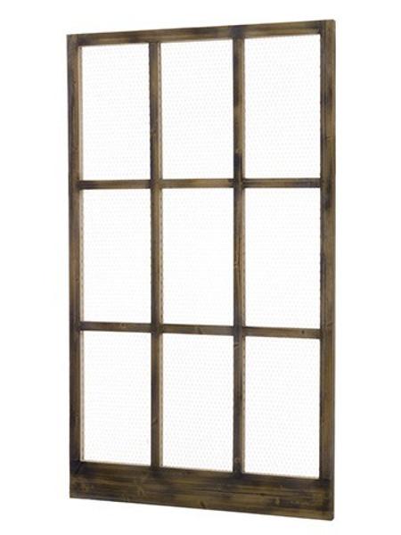 "42""W X 72""L Wood/Meshed Window Brown Rust AMF022-BR/RU"