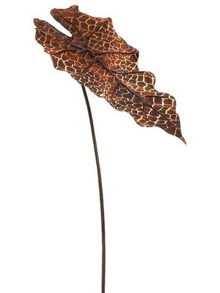 "20"" Snake Skin Print AlocasiaLeaf SprayTwo Tone Burnt 12 Pieces FSA832-BN/TT"