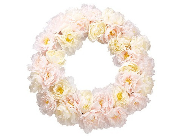 "22"" Peony Wreath White Pink 2 Pieces FWP020-WH/PK"