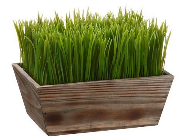 "8""H X 7""W X 10""L Grass In WoodPlanterGreen 2 Pieces LPG262-GR"