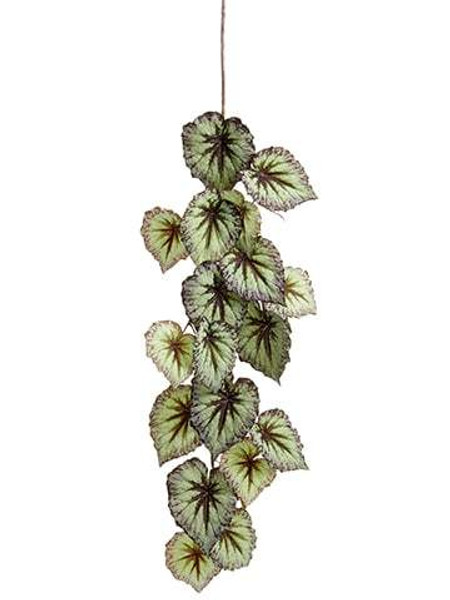 "43"" Begonia Leaf Hanging Spray Green Purple 12 Pieces PSB437-GR/PU"