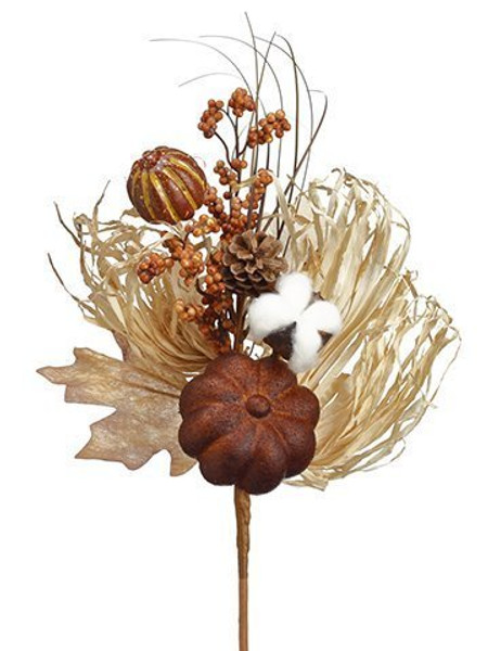 "14"" Pumpkin/Berry/Pine Cone/Grass Pick Toffee Brown 12 Pieces VKP701-TV/BR"