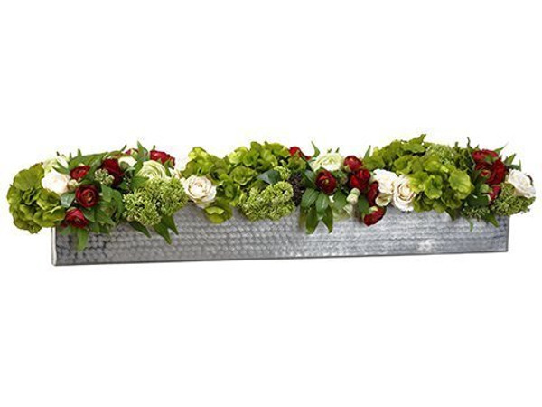 "9""H X 12""W X 41""L Rose/Ranunculus/Sedum In PlanterGreen WF9202-GR/RE"