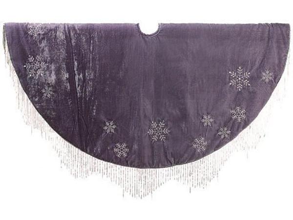 """52"""" Snowflake Embroidery TreeSkirtGray Silver 2 Pieces XA9175-GY/SI"""