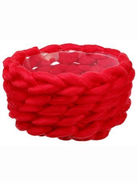 """4.5""""H X 8""""D Knitted WoolPlastic BasketRed 6 Pieces XAC036-RE"""
