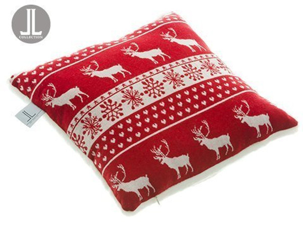 "16""W X 16""L Reindeer Fur Pillow Red White 6 Pieces XAK386-RE/WH"