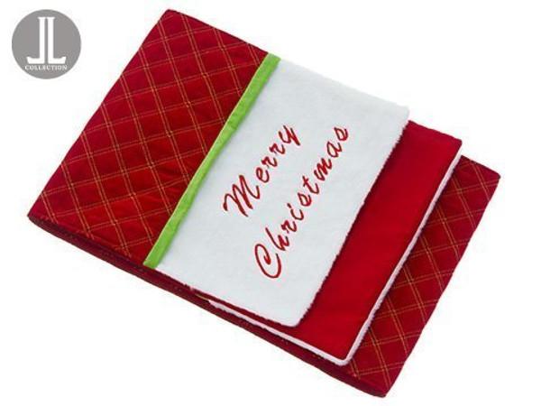 "14""W X 72""L Merry ChristmasVelvet/Fur Table RunnerRed Green 4 Pieces XAK446-RE/GR"