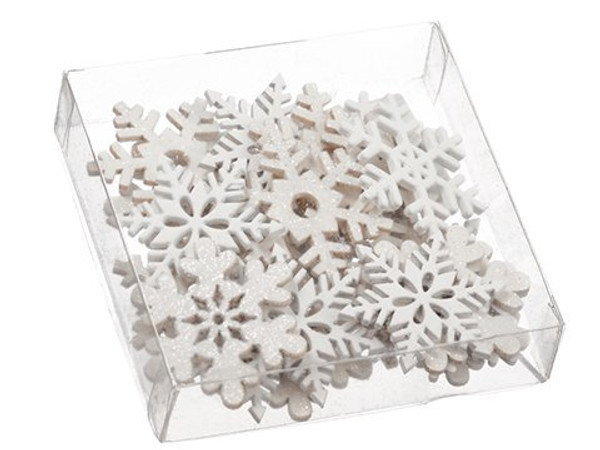 """1.5""""H X 4.75""""W X 4.75""""L SnowflakeWood Confetti Assortment InAcetate Box White 12 Pieces XAL068-WH"""