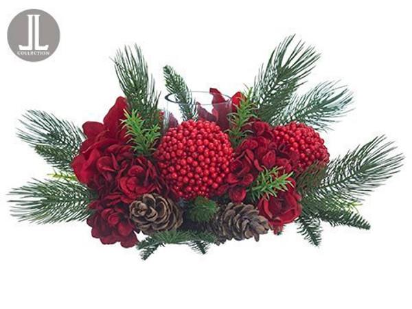 "11"" Hydrangea/Amaryllis/Berry/Cone/Pine Centerpiece WithGlass Candleholder Red Green XDC160-RE/GR"