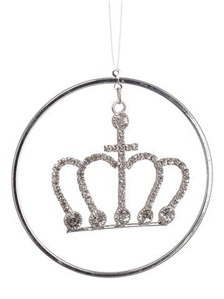 "2.7"" Rhinestone Crown RingOrnamentSilver White 48 Pieces XN3448-SI/WH"