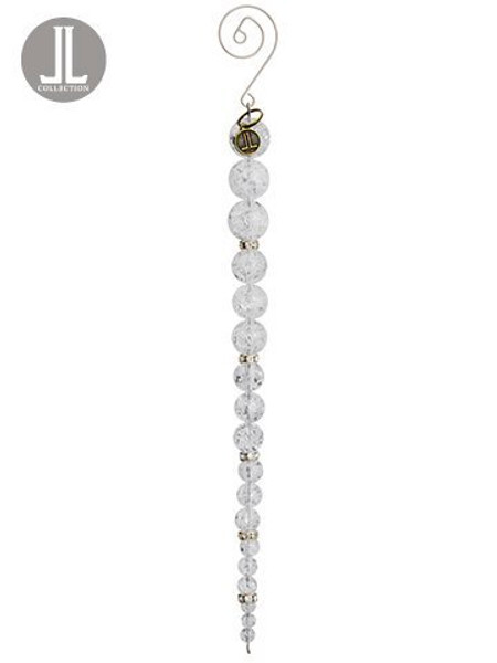 "8"" Iced Bead Icicle Ornament Clear White 6 Pieces XN6342-CW/WH"
