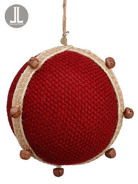 """6"""" Knit Ball Ornament WithBellRed 6 Pieces XN7651-RE"""