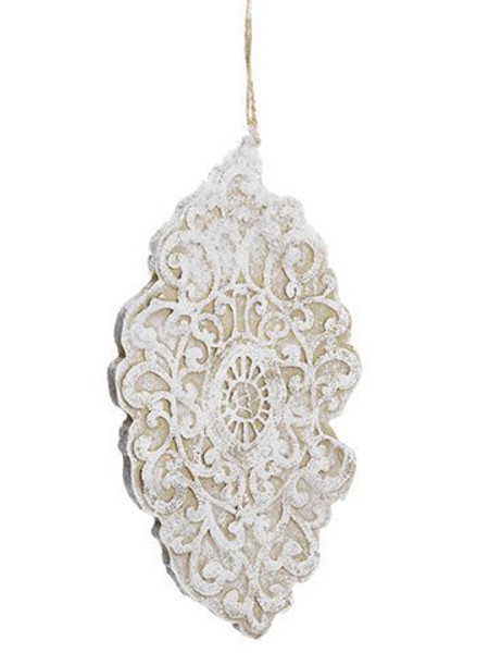 """10"""" Lace Finial Ornament White Natural 36 Pieces XN7738-WH/NA"""