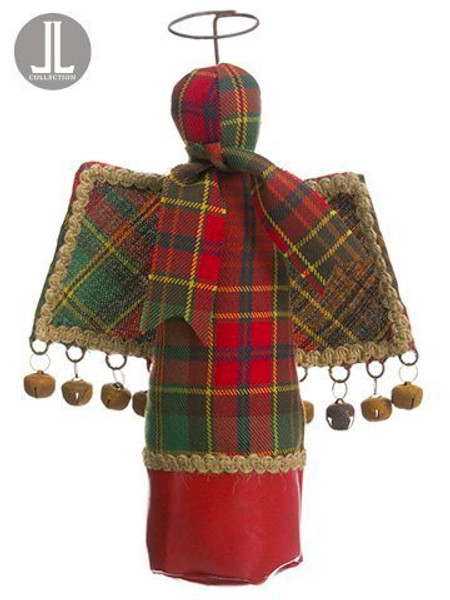 """10"""" Plaid Angel Ornament Red Green 6 Pieces XN7814-RE/GR"""