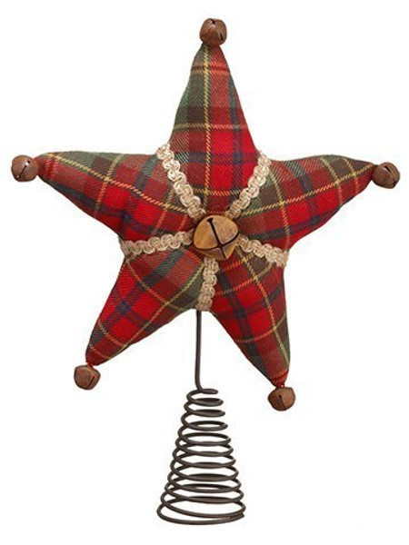 """11"""" Plaid Tree Topper Red Green 3 Pieces XN7843-RE/GR"""