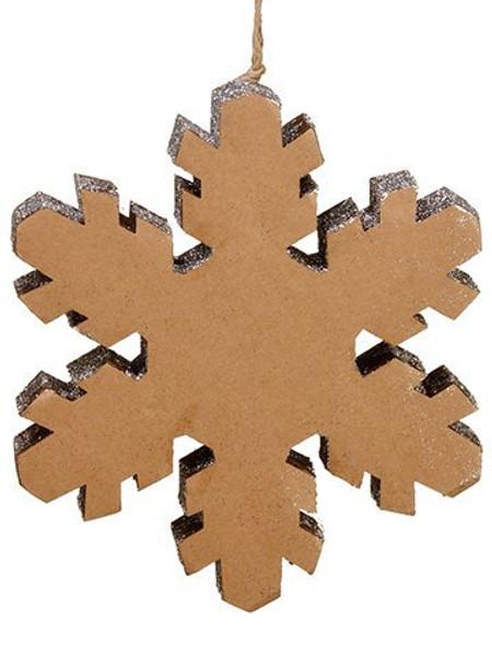 "10"" Glittered SnowflakeOrnamentBrown Silver 6 Pieces XN9360-BR/SI"