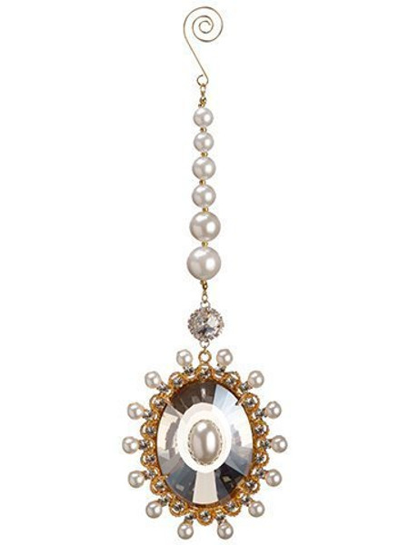 "10"" Pearl Crystal Drop Ornament Gold Pearl 6 Pieces XN9499-GO/P"