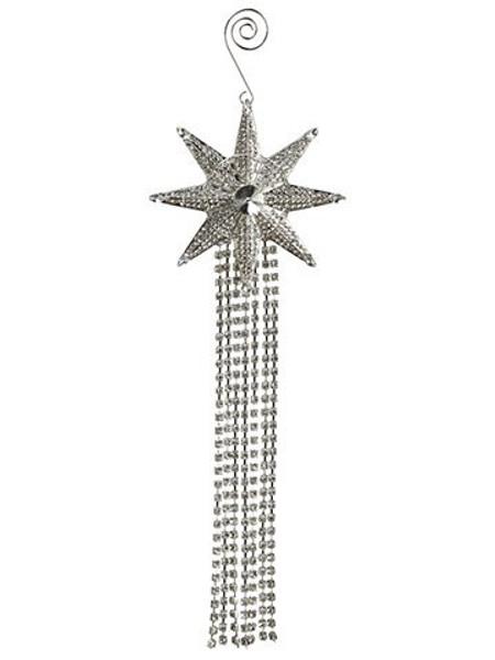 """10"""" Rhinestone Star TasselOrnamentClear Silver 6 Pieces XN9501-CW/SI"""