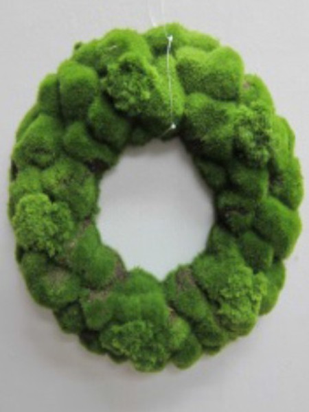 """15.5"""" Large Moss Wreath Green 6 Pieces ZWM025-GR"""