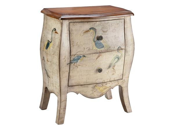 Stein World Sterling Accent Chest 2 Drawer Script With Birds 12025