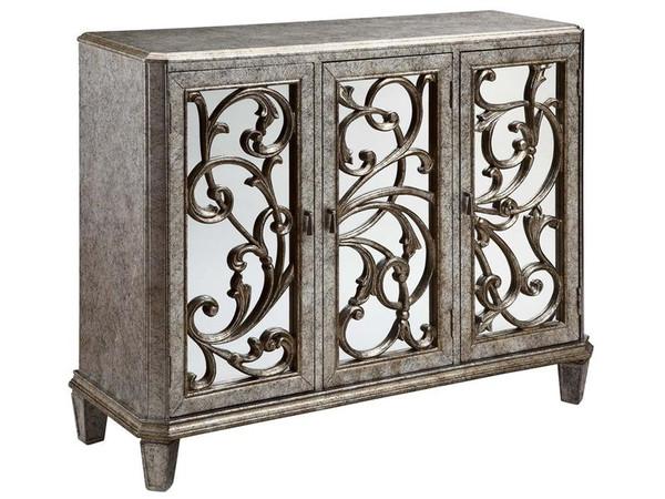 Stein World Leslie Mirrored 3 Door Cabinet In Antique Silver 12398