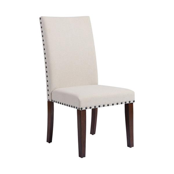 Stein World Hudgins Natural Linen Fabric W/ Dark Cherry Wood Legs Dining Chair 16995