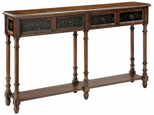 Stein World Taylor 2 Drawer Console Table Black/Brown Wood Top 75782