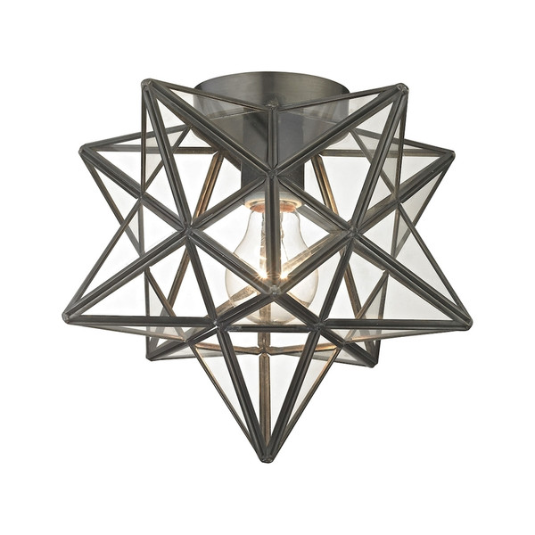 Moravian Star Flush Mount - Bronze With Clear Glass 1145-005