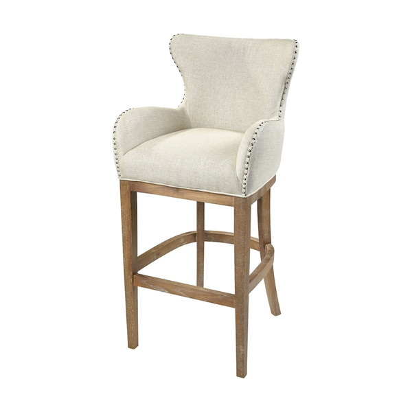 Roxie Cream Linen Bar Chair 1204-032 BY Sterling