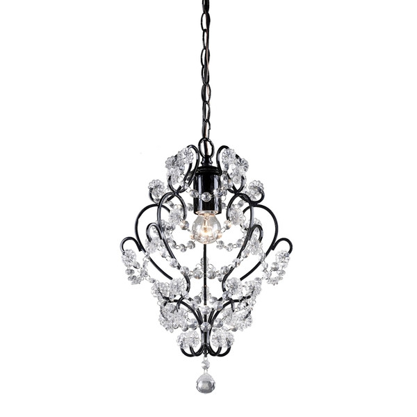 Black Framed And Clear Crystal Mini Pendant Lamp 122-005 BY Sterling