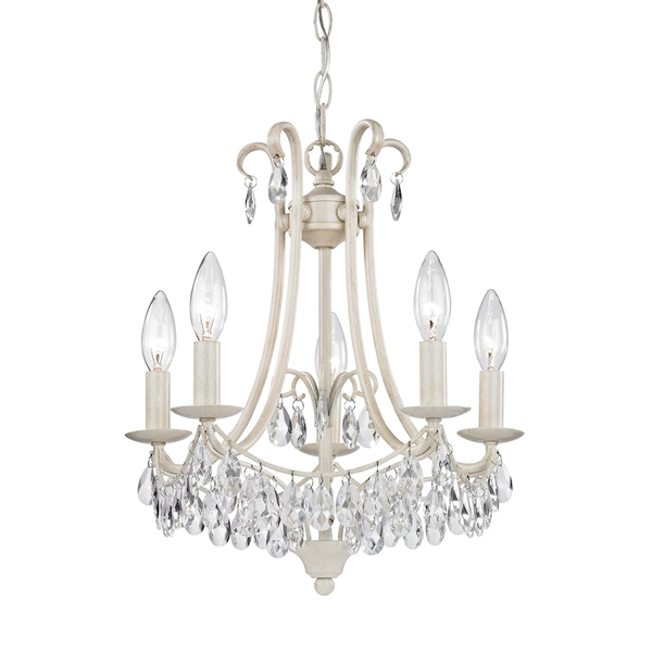 5 Light Mini Chandelier In Antique Cream And Clear 122-021 BY Sterling