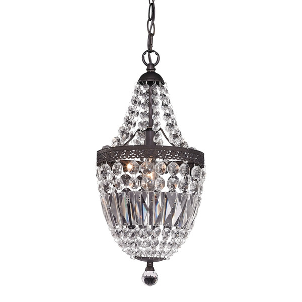 Morley Mini Chandelier In Dark Bronze And Clear 122-026 BY Sterling