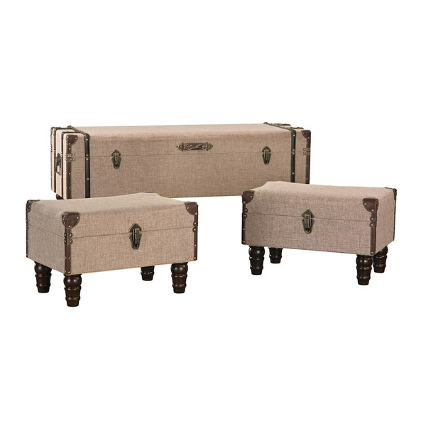 Linen Covered Travelers Trunk - Set Of 3 170-002/S3 BY Sterling