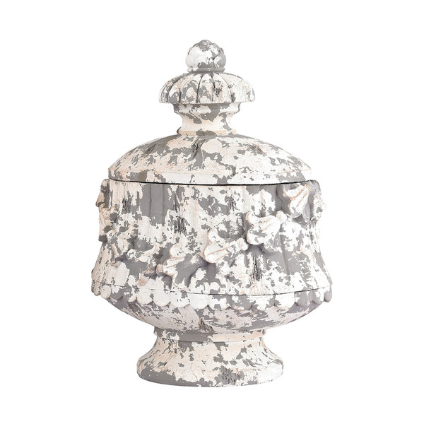 Aged Plaster Embellished Oval Box 387-012 BY Sterling