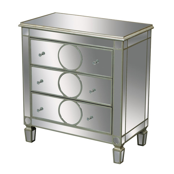 Derin 3-Drawer Chest In Clear Mirror And Champagne Silver Leaf 6043617