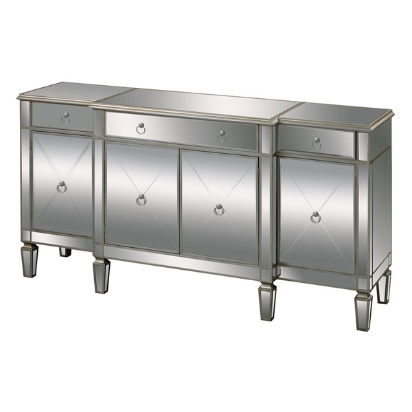 Bodrum Buffet Server In Clear Mirror And Champagne Silver Leaf 6043618