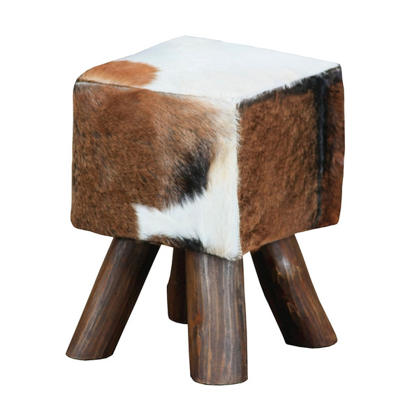 Ilford Small Square Mahogany Stool With Natural Stain Finish 6500536