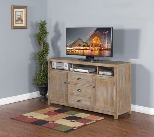 """Sunny Designs 66"""" TV Console - Weathered Brown 3563WB-66"""