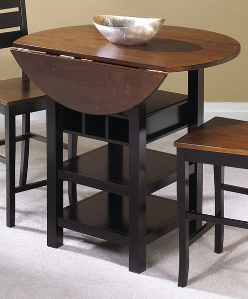 Quincy Pub Table In Black With Cherry Finish Drop Leaf Top CR-A7572-68
