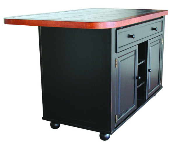 Antique Black Kitchen Island With Cherry Trim And Inlaid Granite Top