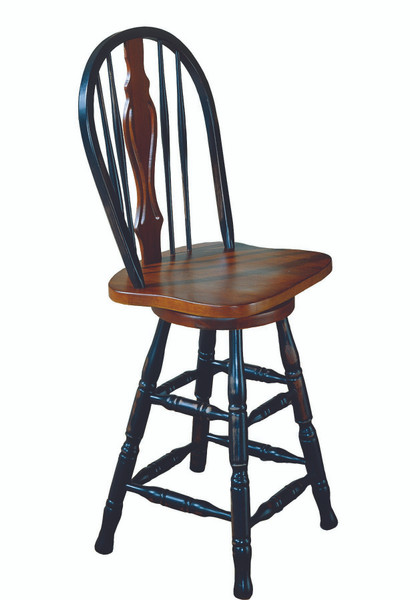 """24"""" Keyhole Barstool In Antique Black With Cherry Accents"""