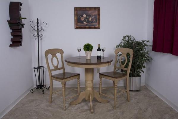 "3 Piece Brook 36"" Round Pub Table Set With Napoleon Stools"