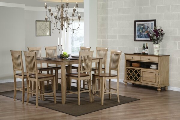 "10 Piece Brook 48"" Square Pub Set With Fancy Slat Stools And Server"