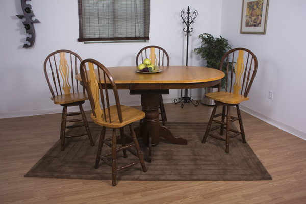 5 Piece Butterfly Leaf Pub Table Set With Keyhole Barstools