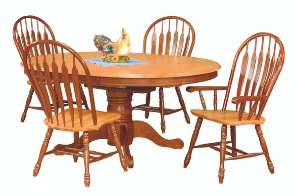 5 Piece Pedestal Butterfly Leaf Dining Set With Comfort Arm Chairs