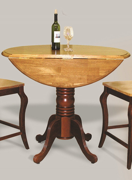 Round Drop Leaf Pub Table In Nutmeg With Light Oak Finish Top