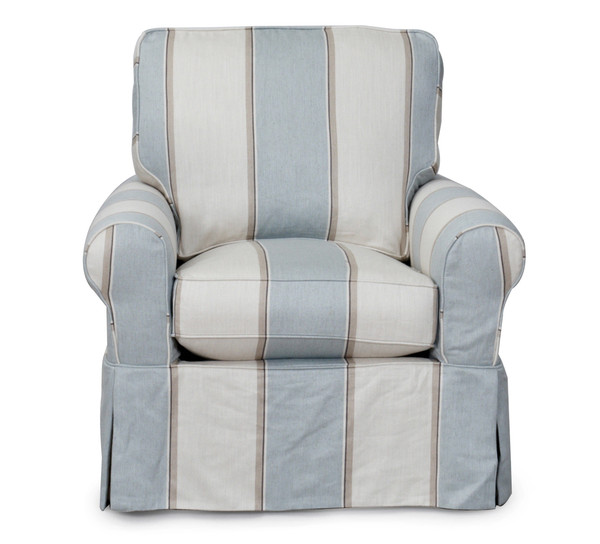 Horizon Swivel Chair - Slip Cover Set Only - Beach House Blue