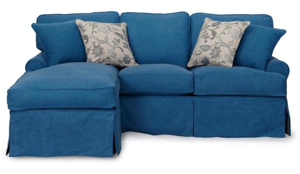 Horizon Slipcovered Sleeper Sofa And Chaise In Indigo Blue