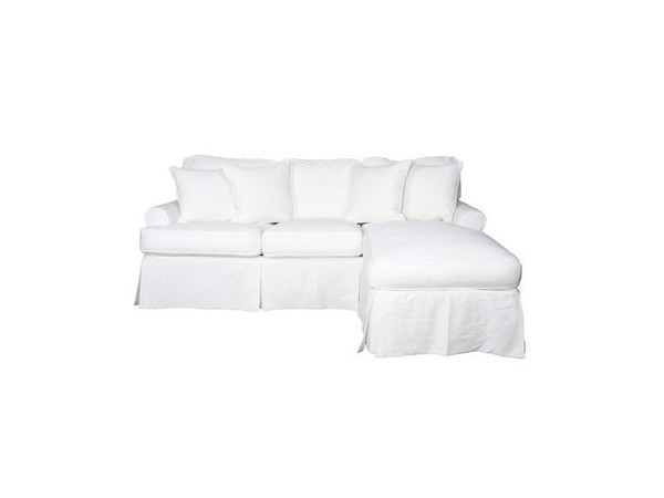 Horizon Slipcovered Sleeper Sofa And Chaise In Warm White